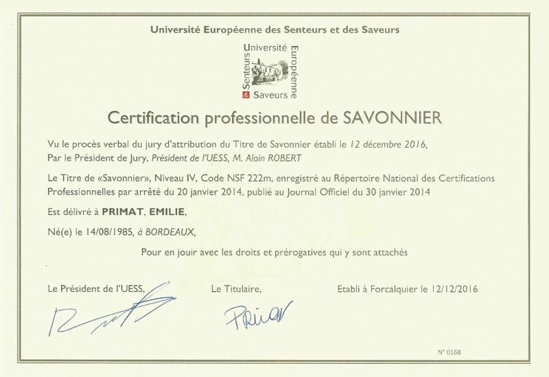 Certificat professionnel de savonnière d'Émilie